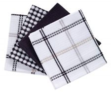 4 Kitchen Dish Towel Set Ultra Absorbent Cloths Windowpane Black Cotton Towels