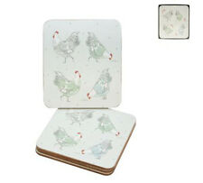 Gisela Graham Country Hen Coasters - Matching Placemats Available - Set of 4