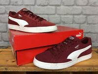 PUMA MENS UK 6 EUR 39 MATCH VULC BURGUNDY RED WHITE SUEDE TRAINERS