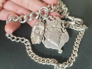 Antique Solid Sterling Silver Albert Pocket Fob watch chain