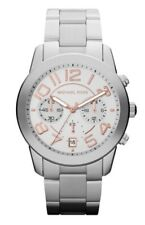 Michael Kors Watch * MK5725 Mercer Chronograph Silver with Rose Gold Steel