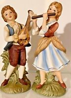 "Set of 2 VTG 7"" Lefton Colonial Country Musical Boy and Girl Porcelain Figurines"