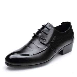 Mens Formal Dress Pumps Pointes Toe Lace Up Business Pu Leather Dress Shoes 44