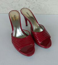 "STYLE & CO. BETTE Womens 4"" High Heel Open Toe Slip On Pumps Shoes Sz 7M Red"