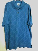 St Johns  Bay Mens Polo Short Sleeve Shirt Blue Striped Size XLT