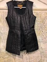 Classiques Entier PetitesLeather Front Vest Sleeveless Jacket Womens sz S Small