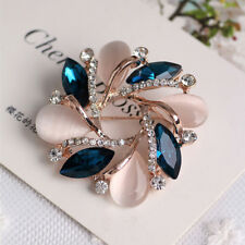 Women Vintage Korean Crystal Rhinestones Bauhinia Brooch Coat Clothes Trinkets S