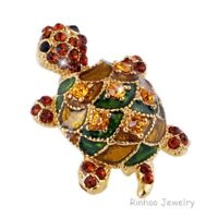 Lovely Animal Tortoise Crystal Rhinestone Brooch Pin Women Costume Jewelry Gift