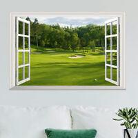3D Fake Window Scenery Wall Sticker Green Landscape Decal Vinyl Art Mural Decor