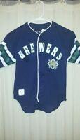 Milwaukee Brewers Baseball Jersey Youth Medium 10/12 Navy Blue Button Up