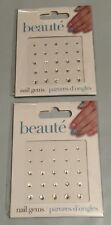(2) New Beaute GiftCraft Nail Stone Crystal Round Sticker Nail Art Gems 25 pcs.