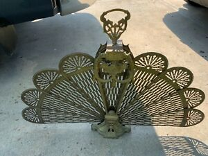 Vintage Cameo Art Deco Brass Folding Fireplace Screen Hearth Peacock Fan Screen