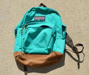 JANSPORT Classic Teal Leather Bottom Back Pack Bag backpack