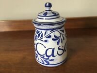 Vintage Portuguese studio pottery blue and white lidded pot