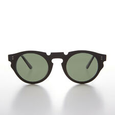 Indie Hipster Sunglasses with Keyhole Bridge  Black/Green Lens - Tisch
