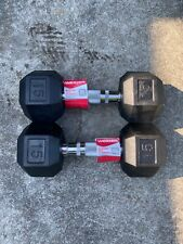 Pair Of 15lb Dumbbells Rubber Hex By WEIDER 30 Lb Total SHIPS FAST!!