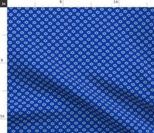 White Blue Festival Small Scale Hanukkah Tiny Spoonflower Fabric by the Yard