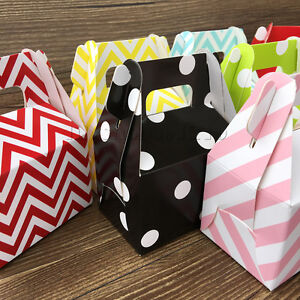 12X Paper Party Boxes Birthday Wedding Favour Carrier Gift Bags Table Decoration