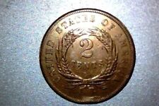 1864 Large Motto LM Two Cent XF-AU.with Doubling,   Cleaned
