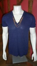 Large Indigo Blue V Neck Short Sleeve T Shirt in a Cotton Blend by Kid Dangerous