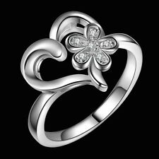 Design Ring 925 Silber Damen Ring Verlobungsring Blume Herz Strass Gr.18 Neu