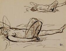 Théophile Alexandre STEINLEN dessin tableau suisse femme nue nu féminin allongé