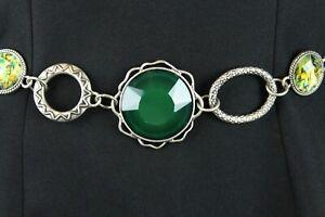 """Retro Chain Belt 17-51"""" Green Faceted Jewels Silver Tone Metal Plus XL XXL 3X"""