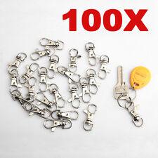 100 Pcs Snap Hook Swivel Silver Tone Trigger Clasps Clip Lobster Keyring Hook