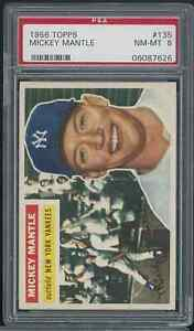 1956 TOPPS NO. 135 MICKEY MANTLE GREY BACK PSA 8 NEAR MINT/MINT WELL CENTERED