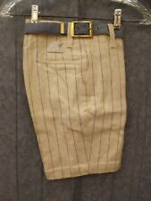 Cool Vtg '60s NEW Ivory Cotton Pinstriped Belted Bermuda Shorts Sz 12 / 26 Waist