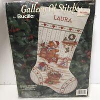 "Vintage Bucilla Cross Stitch Needlepoint 16"" Stocking Kit Country Christmas"