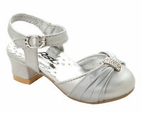 GIRLS SILVER DIAMANTE BRIDESMAID PARTY WEDDING LOW HEEL SANDALS SHOES SIZE 6-2