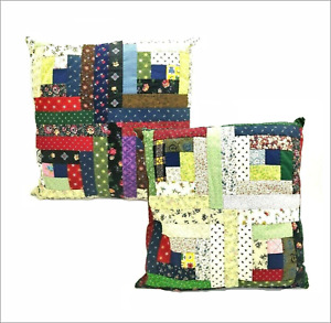 Hand Made Stitched Quilt Square Pillow Red Green Blue 13 x 13 Set