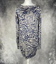 M&S Blue Natural Mix Animal Print Long Sleeve Jumper Dress Size 12 Silk Blend