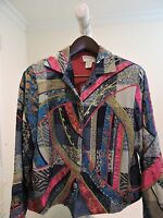 Anage Cotton Blend Multi-Colored Lined 5  Button Jacket Size - Medium