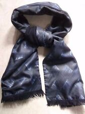 VINTAGE SCARF THINLY LINED RETRO MOD 1970s MOD WOOL NAVY BLACK BLUE PATTERNED