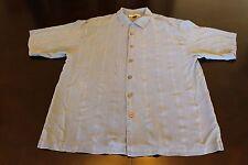 Men's Tommy Bahama Blue 100% Silk Hawaiian Aloha Button Up Shirt Size L