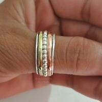 Spinner Ring Solid 925 Sterling Silver Band Brass Handmade Jewelry All Size p-10