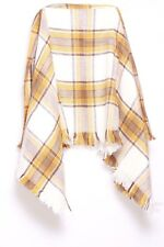 White Tangerine & Brown Tartan Large Super Soft Blanket Feeling Scarf (S128)
