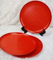 Florence Prolon Melmac Plastic Dinner Plates Orange 7800 - Lot of 3 MCM Vintage