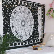 Indian Hippie Bohemian Horoscope Zodiac White Wall Hanging Tapestry Twin Size