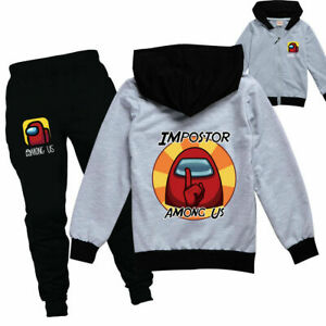 Among us Kids Boys Girls Tracksuit Zip Hooded Top Outfit Sports Set Tops+Pants