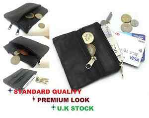 Unisex soft black leather zips coin credit card holder pouch purse wallet zip2Cn