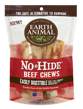 Earth Animal NO HIDE BEEF DOG STIX 10 pak SMALL Rawhide Alternative MADE IN USA