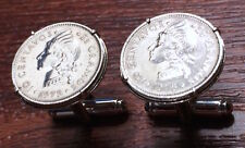 Vintage Dominican Republic Native Princess Silver Tone Coin Cufflinks + Gift Box