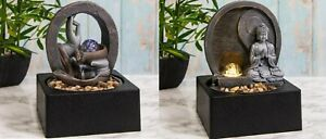 Indoor Tabletop Water Fountain Feature Buddha Serenity LED Light Zen Meditation
