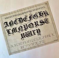 Original Calligraphy Old English Riband Font Alphabet C M & St P Railroad