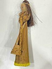 "Vintage Folk Art Finely Doll Straw Handmade Figurine Woven Straw braided 5"" Rare"