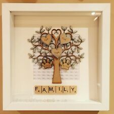 Handmade Personalised Scrabble Family Tree Frame With Hearts Birthday Gift