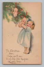 Vintage ROSE O'NEILL / KEWPIE DOLL Postcard CHRISTMAS TREE ORNAMENT KEWPIES